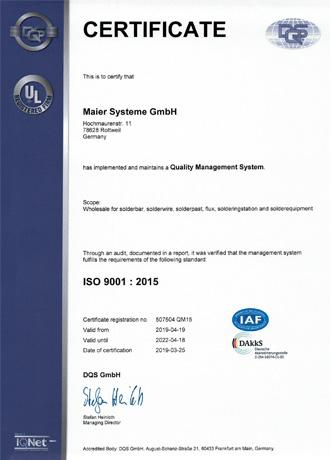 Wir sind nach ISO 9001 : 2015 zertifiziert